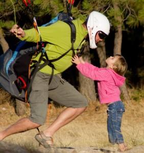 La pasion del vuelo y el parapente como otras aficiones, se comparte en familia. como