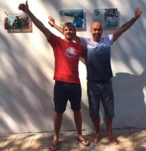 Horacio Llorens y Andy Hediger, tras plasmar sus huellas en el Paseo de las Estrellas del Vuelo