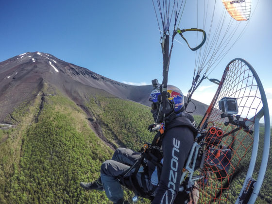Pal Takats - paramotor over Mount Fuji.