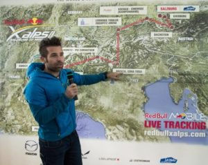 Hannes Arch speaks during the Red Bull X-Alps Route Launch in Salzburg, Austria on March 19th, 2015