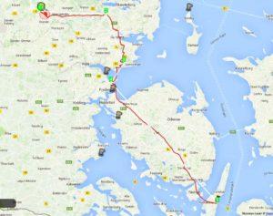Flight across Denmark